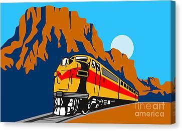 Train Traveling With Canyon Canvas Print by Aloysius Patrimonio