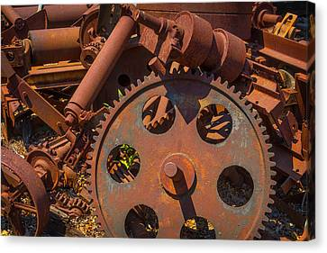Component Canvas Print - Train Yard Gears by Garry Gay
