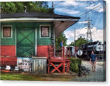 Train - Yard - The Train Station Canvas Print by Mike Savad