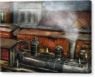 Train - Yard - The Train Yard II Canvas Print by Mike Savad