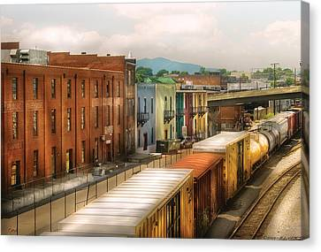 Train - Yard - Train Town Canvas Print by Mike Savad