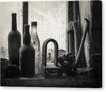 Train Yard Window Canvas Print by Dave Bowman