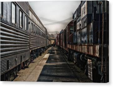 Train Yards At Sunrise Sc Canvas Print