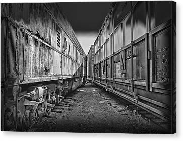 Black Tie Canvas Print - Train Yards Black And White by Thomas Woolworth