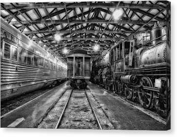 Trains 3 Foregone Work Horses Bw Canvas Print