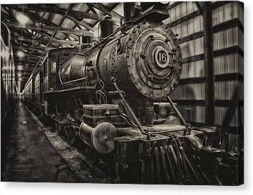 Trains Ancient Iron Engine 16 Sepia Canvas Print by Thomas Woolworth