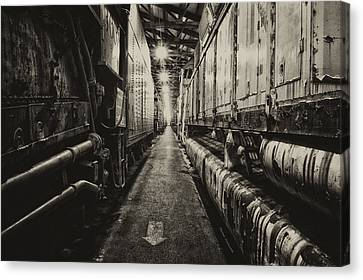 Trains Ancient Iron In The Barn Sepia Canvas Print by Thomas Woolworth