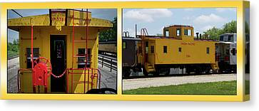 Trains Caboose 3786 Union Pacific Two Panel Canvas Print