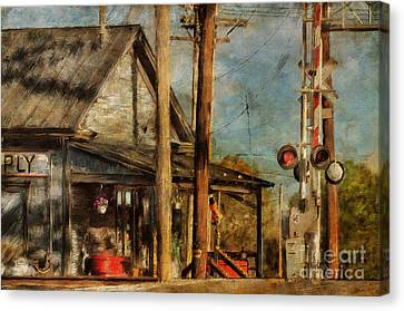 Train's Coming - Berryville Farm Supply Canvas Print by Lois Bryan