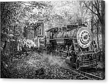 Smokey Mountain Drive Canvas Print - Train's Coming Black And White by Debra and Dave Vanderlaan