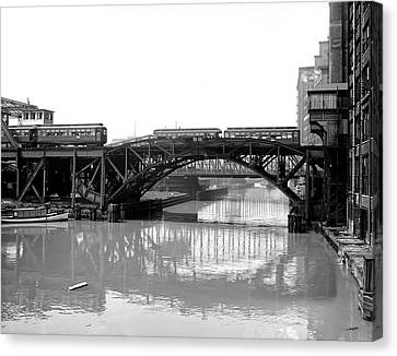 Canvas Print featuring the photograph Trains Cross Jack Knife Bridge - Chicago C. 1907 by Daniel Hagerman