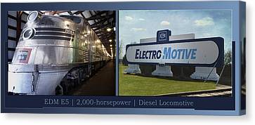 Trains Emd E5 Diesel Locomotive With Emd Signage Canvas Print