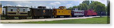 Trains Five Cabooses Panorama Canvas Print