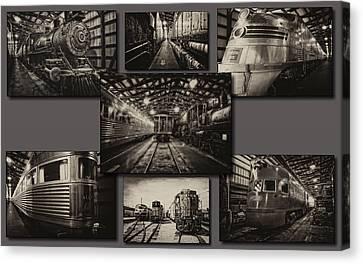 Trains Irm Sepia Collage Canvas Print