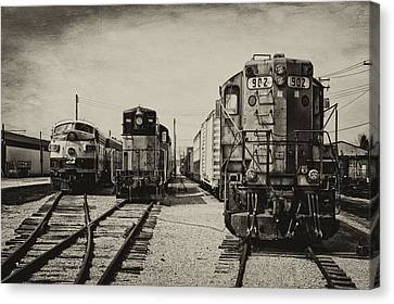 Gravel Road Canvas Print - Trains Triple Engine Power Sepia by Thomas Woolworth