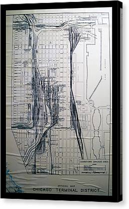 Trains Vintage Chicago Terminal District Map Canvas Print by Thomas Woolworth