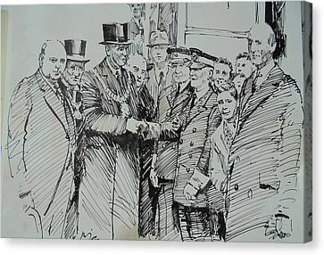 Canvas Print featuring the drawing Tram Drivers Retirement. by Mike Jeffries