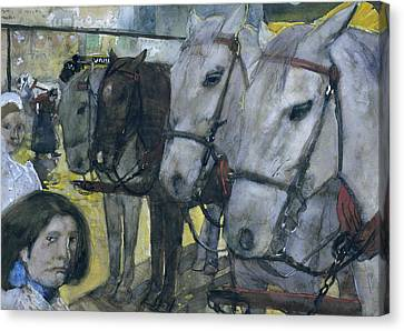 Tram Horses On Dam Square In Amsterdam Canvas Print by George Hendrik Breitner