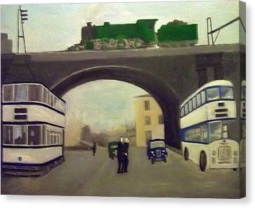 1950s Tram, Locomotive, Bus And Cars In Sheffield  Canvas Print