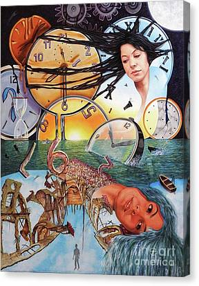 Trampas Del Tiempo Canvas Print by Jorge L Martinez Camilleri