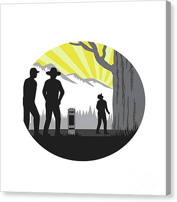Trampers Mile Marker Giant Tree Oval Woodcut Canvas Print by Aloysius Patrimonio