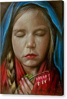Tranquil Bleeding Hearts Canvas Print by Linda Nielsen