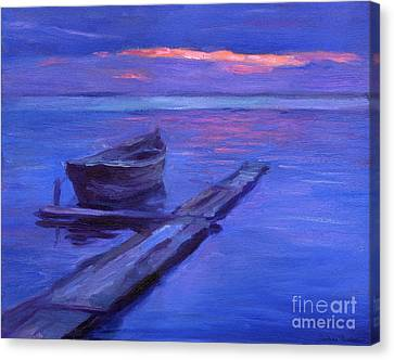 Tranquil Boat Sunset Painting Canvas Print by Svetlana Novikova