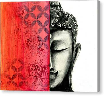 Buddha Sketch Canvas Print - Tranquil Buddha - Charcoal And Ink Drawing by SnazzyHues