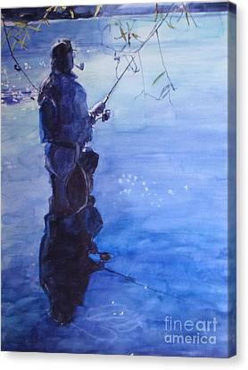 Watercolor Tranquil Fishing Canvas Print