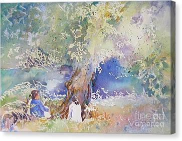 Canvas Print featuring the painting Tranquility At The Brandywine River by Mary Haley-Rocks