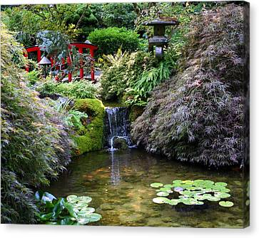 Canvas Print featuring the photograph Tranquility In A Japanese Garden by Laurel Talabere