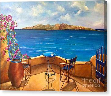 Pallet Knife Canvas Print - Tranquility Of Santorini by Viktoriya Sirris