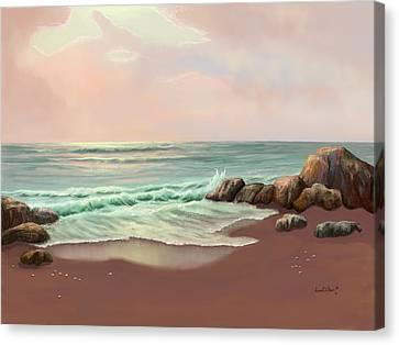 Canvas Print featuring the painting Tranquility Of The Sea by Sena Wilson