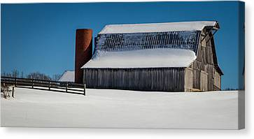 Red Barn In Snow Canvas Print - Tranquility Of Winter by Karen Wiles