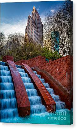 Streetlight Canvas Print - Tranquility Park Fountain by Inge Johnsson