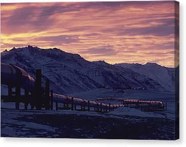Trans Alaska Pipeline At Dawn Canvas Print by George F. Herben