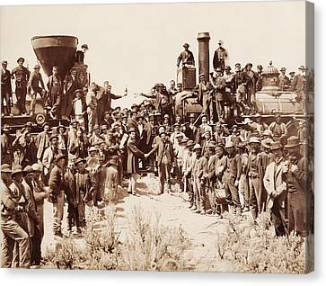 Vintage Trains Canvas Print - Transcontinental Railroad - Golden Spike Ceremony by War Is Hell Store