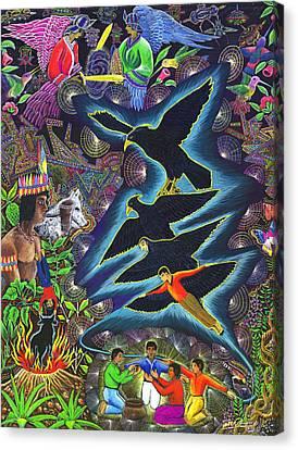 Ayahuasca Visions Canvas Print - Transformacion Del Chaman En Aguila  by Pablo Amaringo
