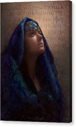 Transformation - Woman With Romans 12 2 Written In Original Greek  Canvas Print by Karen Whitworth