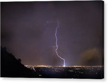 Canvas Print featuring the photograph It's A Hit Transformer Lightning Strike by James BO Insogna