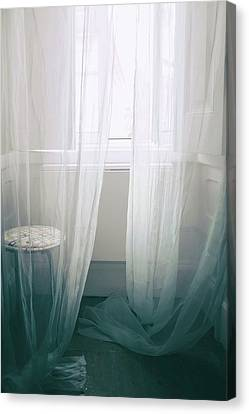 Tulle Canvas Print - Transparent White Curtains by Carlos Caetano