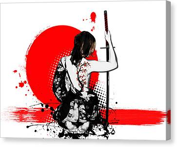 Trash Polka - Female Samurai Canvas Print by Nicklas Gustafsson