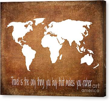 Travel World Map Canvas Print by Jennifer Mecca