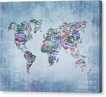 Traveler World Map Blue 8x10 Canvas Print by Delphimages Photo Creations