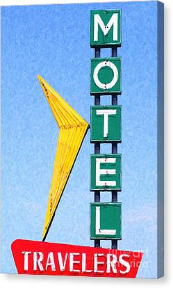 Travelers Motel Tulsa Oklahoma Canvas Print by Wingsdomain Art and Photography