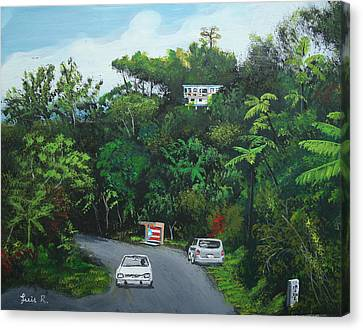 Traveling In Adjuntas Mountains Canvas Print by Luis F Rodriguez