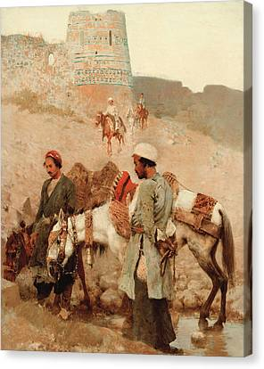 Traveling In Persia Canvas Print by Edwin Lord Weeks
