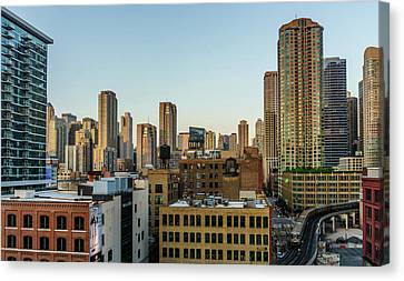 Traveling Through Chicago Canvas Print by Med Studio