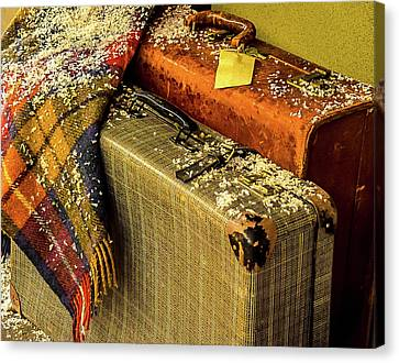 Canvas Print featuring the photograph Traveling Vintage Bags Blanket And Snow by Julie Palencia