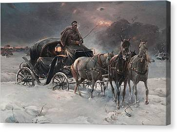 Traveller On A Winter Night Canvas Print by Alfred Kowalski